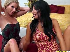 Gorgeous porn models Brianna Ray and Sophia Bella go kinky in arousing lesbian sex scene. Blonde MILF slides her hand under brunette's lacy panties bringing her divine pleasure.