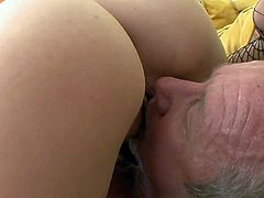 Tristan Berrimore is a slutty cute college girl that loves sex with older men. Yougn tattooed slut sucks his mature cock like mad and then takes it up her dripping wet pussy. Watch her do it.