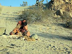 Enjoy seeing a wild fuck? Well, then why not see, how a barbarian does it? This guy is real, when it's about stretching a pussy and ladies love it! They get hot and heavy on the sand and the dude gives his girls a hard piece of barbarian meat, that they love to share, and suck.