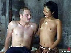 Nasty Asian mistress tortures guy's nipples and dick. Later on she destroys his ass with a strap-on. In fact he likes what she does to him.