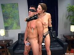 What a slender and sizzling siren Kym Wilde is! She gets Marc Bowman naked and ties him up all over! Bitch is so fucking kinky!