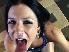 Slutty mom moans and gags with a big cock up her wet throat