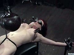 Kinky girl gets bounded and blindfolded. Then she gets her pussy toyed and tits tortured with clothespins.