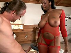 Some ebony chicks like Carmen Hayes loves white men only! So, she grabs his thick white cock for a blowjob and then gets balled hard in her ebony twat.