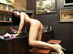 Tender hooker Danica Dillan plays with her soaking wet muff pie after stripping