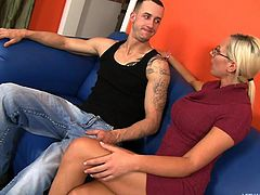Chris Strokes is heading over to his friend's house to party. His friend's mom answers the door and she is impressed at how muscular he is. They get to talking and eventually fucking. Chris gets a tasty rimjob from blonde milf Skylar Price.