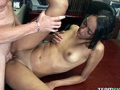 Dark-skinned temptress is a sex freak. Seriously, she loves to fuck! Horny boss bends her over the table and bangs her hard in and out loosening her once tight hole.