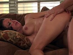 Black haired lusty milf Veronica Avluv with provocative heavy make up and smoking hot body seduces young tall stud and gets rammed hard from behind to loud wet orgasm.