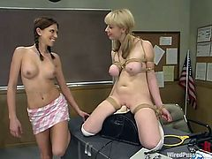 Well, that is the price of skipping classes. So Adrianna Nicole and Audrey Leigh are called by their teacher for a hard talk. Damn, it's fucking wild to watch!