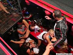 You are welcome here to visit crazy group sex orgy. A lot of drunk bitches gets dirty fucked ad one girl in cage gets her pussy rammed without mercy.