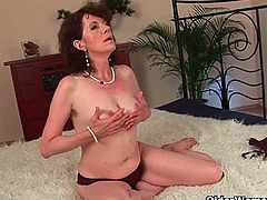 Evelyn is a hairy mom and she is always ready to have some fun with a big cock. Her hairy pussy received some hardcore pumping and she got covered allover with jizz.