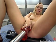 Awesome blonde chick Annette Schwarz is having fun in some strange room. She rubs her snatch against some device and then gets her snatch pounded by a fucking machine.