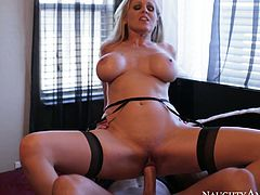 Mature light haired Julia Ann rides her mate's big and thick dick