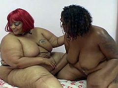 Watch these horny ebony bbw lesbians in hot action, where they both takes huge dildo and fucks each other holes.These huge tits ebony bbw babes loves getting their pussy and booty holes toyed hard.