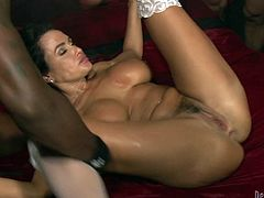 Busty MILF gets her ass and pussy destroyed in gangbang video
