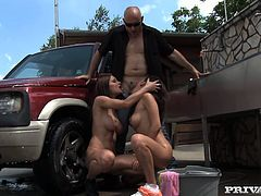 Check out wicked outdoors FFM action! ravishing dark haired bitch Abbie Cat and her hot brunette girlfriend share one thick prick over the car. Bitches give blowjob and get fucked doggystyle.
