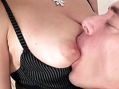 Lucie Sage with gigantic jugs cant live a day without taking erect love torpedo in her mouth