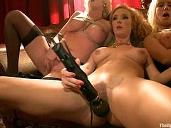 Charming redhead girl Audrey Hollander is playing dirty games with horny Otto Bauer among many other people. She pleases the man with a blowjob and then welcomes his dick in her pussy and asshole.