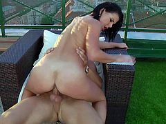 Rihanna Samuels is a smoking hot horny brunette with tiny tits but round killer ass. She shows her body part as she gets her tight pussy banged non-stop by her lucky fuck buddy rooftop.