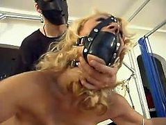 This petite and slender blondie loves fetish passion! She gets naked and her man uses some ropes to get her saddled down! Honey shows not resistance.