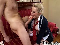 See the naughty blonde belle Syren Sexton getting her clam rammed balls deep into heaven by a massive cock while wearing a kinky schoolgirl uniform and black fishnets.