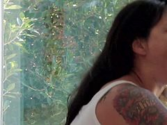 Teen slut Dana Vespoli with provocative arm tattoo in simple underwear gives memorable blowjob to long haired Chad Alva and dirty Danny Wylde. The make her cum screaming many times.