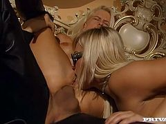 Don't skip this exacting sex tube video produced by private porn site. Two gorgeous blondes suck one meaty dick and lick each others juice off his shlong.