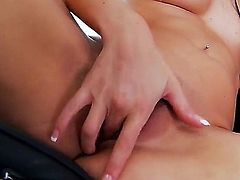 Horny brunette Nikki Daniels pleases herself