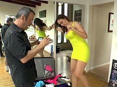 She comes to the studio in a casual outfit. So, she has a scene to fuck in and babe must look sexy. That petite yellow dress is going to help her.