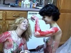 Wach these horny bitches licking the sweet sauce off their naked body and titties of each other in Chick Pass Network sex clips.