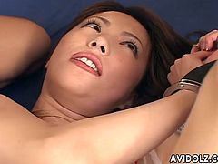 This sexy Japanese babe gets her mouth fucked, followed by meat in her tight Asian cunt and then finally gets stuffed with a huge dildo.