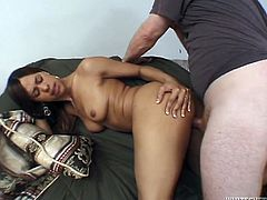 Hot babe gives skillful blowjob and then spreads her legs. She gets her soaking pussy fucked hard in different poses.
