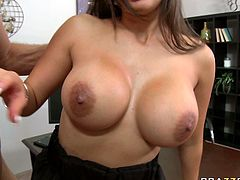 Alexis Breeze has got huge fake boobs. She rides hard stem upskirt. Later on she gives hot blowjob and titjob. After pleasing dripping cock with her mouth lips she takes the rod deep from behind.
