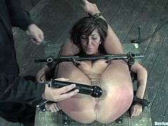 Kinky brunette girl with great ass gets bounded and then her master fixes clothespins to her tongue and tits. Then she gets her hot pussy toyed.
