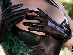 Big breasted nympho Latex Lucy looks very tempting in her sexy outfit. In this kinky masturbation video she acts really naughty. She teases her tits and pussy with unrestrained passion like there's no tomorrow.