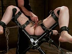 Alani Pi has a ton of clothespins put on her pussy. Her master puts his greasy finger inside her cunt, as her pussy lips are covered with pins. She gets a metal dildo put inside her vagina as well. Alani knows how to take torture very well.