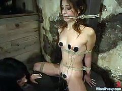 Amber Rayne and Melissa Lauren are having some good time together. Melissa binds Amber, torments her and then attaches electric wires to her tits and vag.