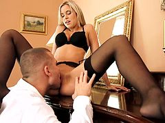 Young Dido Angel shows off in black lingerie while having her holes popped out