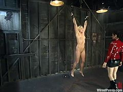 Princess Donna Dolore is playing BDSM games with short-haired blonde Vendetta. Donna binds the slut and touches her cunt and they both enjoy it much.