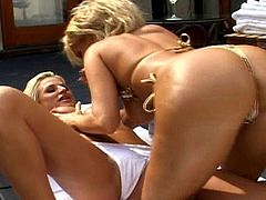 Blonde cougars are in for some naughty stuff during their lesbian masturbation scene