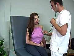 Curly brunette chick gets angry during the medical examination. She orders the doctor to take his clothes off. Then she spanks his ass brutally.