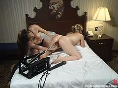 Two delightful babes are rolling in the hay with a fucking machine. They help each other out and even touch each other time by time. Babes are becoming lesbians.
