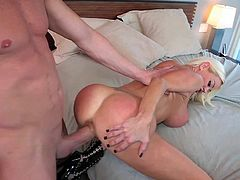 One of a king blonde bombshell with huge jaw dropping firm tits in stripper shoes only seduces tall Billy Glide with hot body and gets big bouncing ass drilled deep.