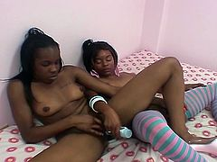 Check these perverse and provocative amateur ebony sluts as they take their time to munch and dildo their hairy cunts into amazing orgasms. They definitely wanna misbehave.