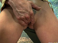 Brown-haired honey Chanel Preston is famous for her huge delicious boobs! Sex-starved bombshell knows that she's driving her lover crazy so she makes him lick her gorgeous titties. A bit later he fingres her wet snatch.