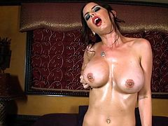 Big tits brunette Brandy Aniston rides her fucking machine in a pure hardcore solo