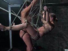 Her sex master today is Sandra Romain and she tortures her so fucking hard. Babe gets bondaged and suspended under the concept of the swing. Every swing is a pump in her twat!