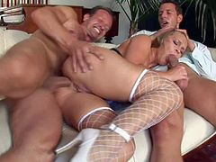 Colette is a slutty maid that gets used like a cheap whore by two guys. This blonde in white fishnet stockings gets her mouth, ass and pussy fucked silly by two horny as hell guys. Watch them dill her holes.
