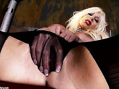 Blonde Puma Swede touches her tits gently