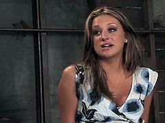 Beautiful brown-haired chick Carmen McCarthy strips in a basement and lets some guy bind her. Then she lies down on the ground and gets her pussy unforgettably toyed.